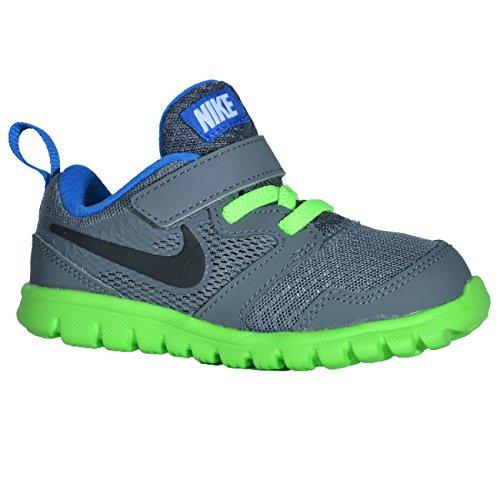 Nike Flex Experience 3 (TDV), Zapatos de Primeros Pasos, Gris/Negro/Verde (Drk Gry/Blk-Elctrc Grn-Hypr CB), 21 EU