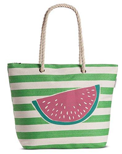 Tasche Damen Shopper Bast Beach Strandtasche Melone gestreift mit Obst-Motiv