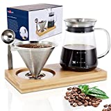 Aquach Pour Over Coffee Maker Set with Extra Large Coffee Dripper, 28 oz Glass Carafe,...