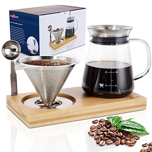 Aquach Pour Over Coffee Maker Set with Extra Large Coffee Dripper, 28 oz Glass Carafe, Stainlesss Steel Coffee Scoop and Bamboo Storage Tray, Unique Set for Home or Office