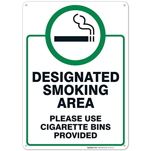 Designated Smoking Area Sign, Use Cigarette Bins Sign, 10x14 Rust Free Aluminum UV Printed, Easy to Mount Weather Resistant Long Lasting Ink Made in USA by SIGO SIGNS