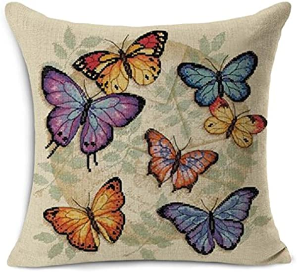 18 X 18 Inch Colorful Butterfly Home Decorative Throw Pillow Case Cushion Cover