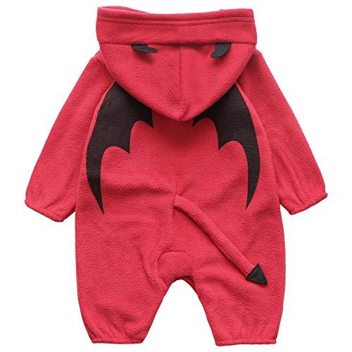 FANCYINN Toddler Baby Lil' Devil Costume Infant Halloween Costumes Hooded Romper Onesie 90 Red