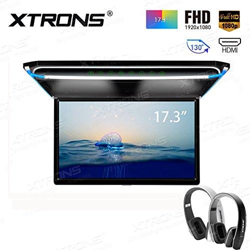 """XTRONS 17,3"""" Digital TFT FHD 16:9 Bildschirm für Auto Bus unterstützt 1080P Video Auto Overhead Player Auto Monitor mit HDMI Port Automosphäre LED Licht Windows CE für Urlaub (CM173HD+DWH005+DWH006)"""