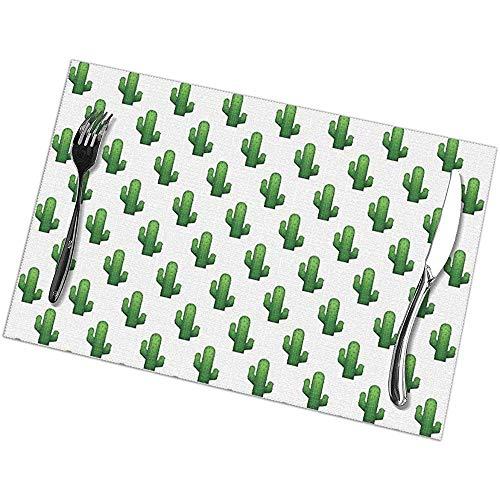 Set De Table Set De 6 Cactus Emoji Land Table De Table Rectangulaire Résistant À La Chaleur 45 X 30 Cm