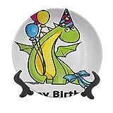 Plato decorativo para cumpleaños de niños, de 15,24 cm, diseño de dinosaurio de bebé, con globos de colores, plato de cerámica decorativo para mesa de comedor, catering