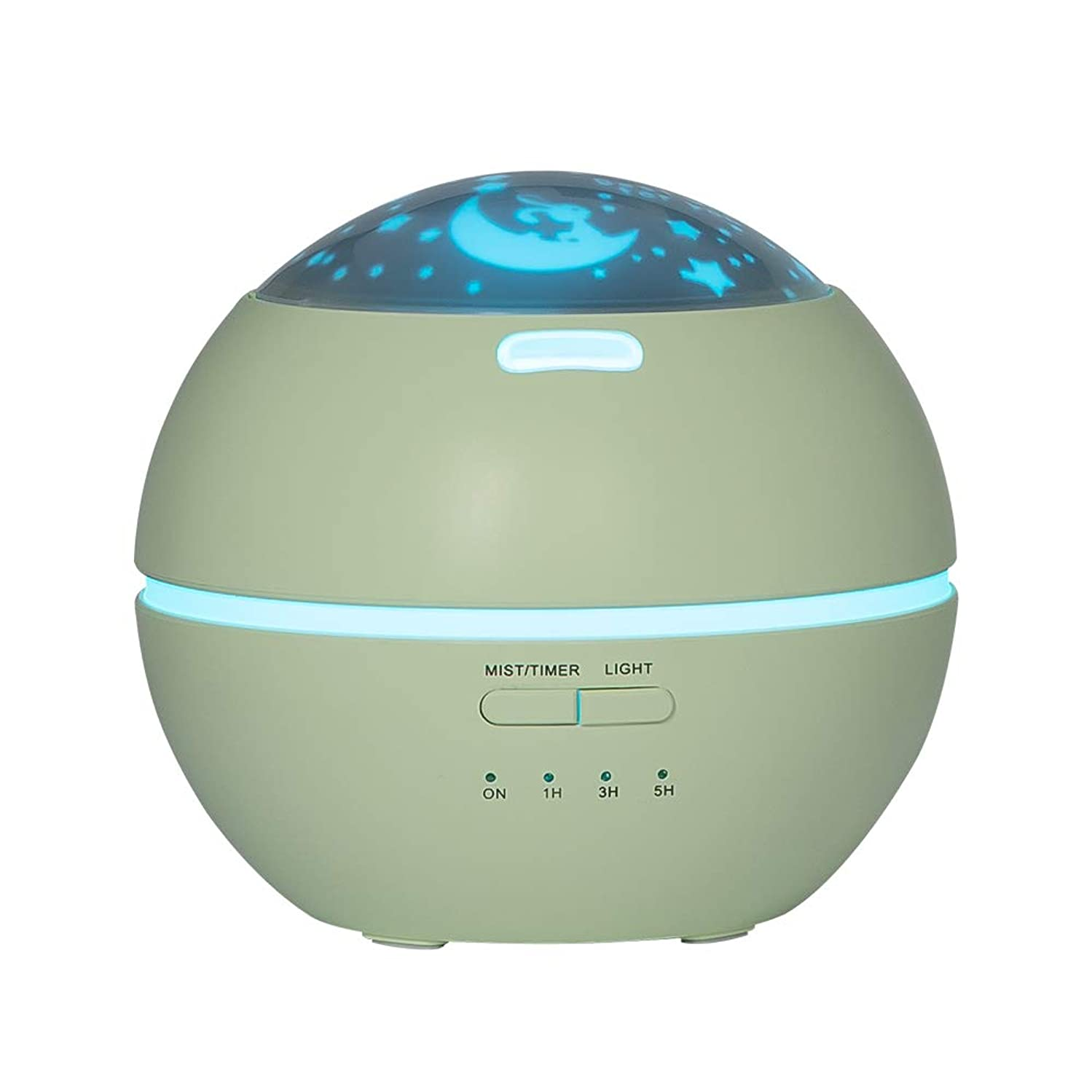 お香ビート妖精LIBESON 加湿器 卓上 超音波式 アロマディフューザー 8色LEDライト変換 超静音 ミス調整可能 時間設定タイマー機能付き 空焚き防止機能搭載 アロマ加湿器 ホワイト150mL (グリーン)