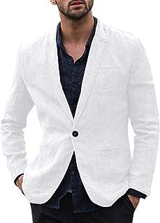 Frecoccialo Mens Casual Linen Blazer Jacket Regular Fit One Button Suit Coat Lapel Outfit with Pockets
