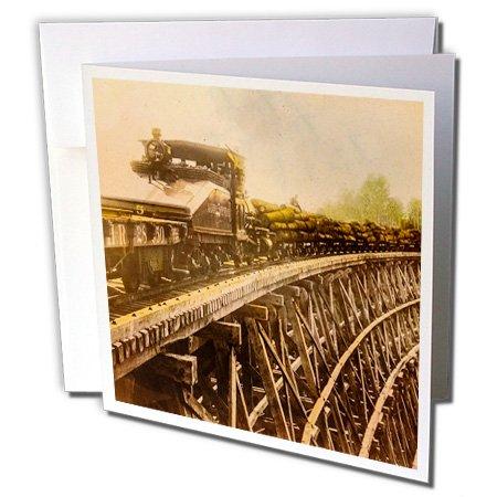 3drose Magic Lantaarn Vintage stoomlocomotief Logging Trek Houten brug - Wenskaarten, 15,2 x 15,2 cm Set van 6 (GC 240528 1)