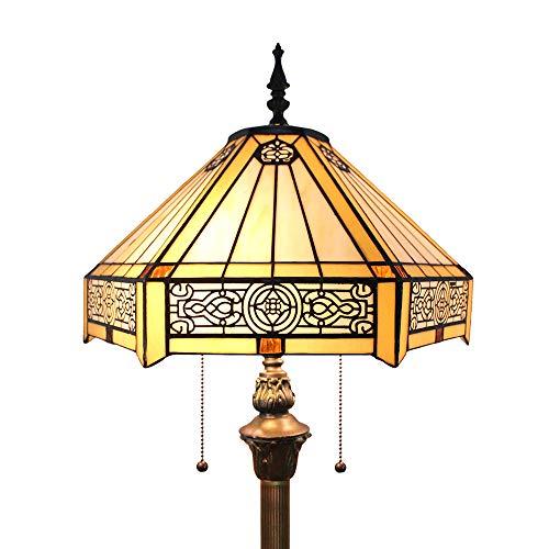 Tokira Tiffany Woonkamer Vloerlamp, Eenvoudige Stijl, Zeskantige Gebrandschilderde Lampenkap, Grote Handgemaakte Leeslamp, 64 Inch Hoog