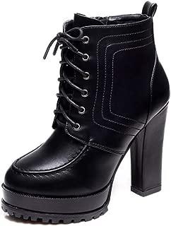[VALER] 編み上げ ブーツ 太ヒール 11CM レースアップ 柔らか素材 超軽量 安定感有 歩きやすい 袴 成人式 卒業式にも最適 ブラック 黒 マーティンブーツ オックスフォードシューズ