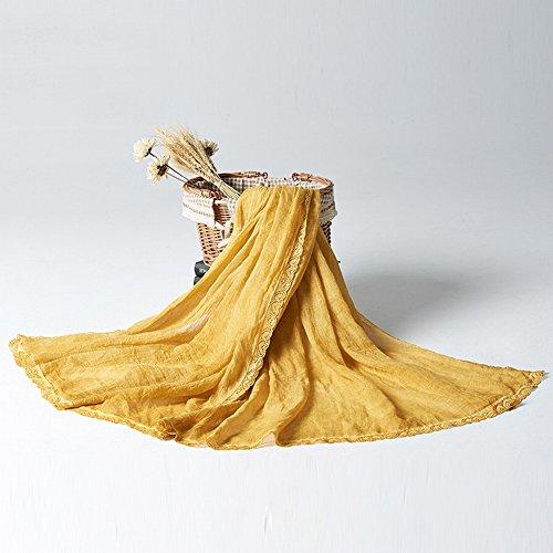Retro Estilo Artístico Monocromático Doblar Algodón Y Pañuelo de Lino , amarillo