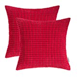 TEAGAN Cozy Throw Pillow Covers, 2PCS Soft Corduroy Corn Solid Pillow Cases, Decorative Cushion Covers for Home Bedroom, Living Room, Home Garden Couch Bed Sofa Chair, Deep Red, 16X16 in