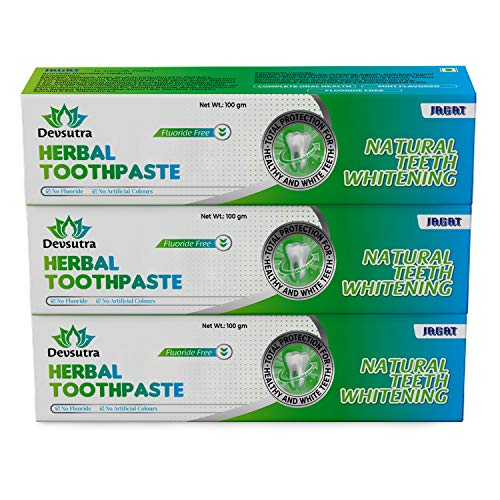 Jagat Devsutra Mint Flavour Toothpaste Dr Recommended Ayurvedic Organic Herbal Toothpaste | 100% Natural Whitening Teeth White No Fluoride & Artificial Colours, Gum Cure, VEGAN - Pack of 3 (100 g X 3)