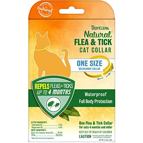TropiClean Natural Flea & Tick Repellent Collar for Cats - Flea & Tick Collar for Cats - One Size Fits All – Waterproof, Breakaway Design – Repels Flea & Ticks Up to 4 Months