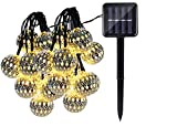 Quace Solar String Lights 4.5m/15ft 10 LED Water-Resistant Lights Festival Decoration Metal Ball Design String Lights for Indoor Outdoor Bedroom Patio Lawn Garden Party Decorations - Warm White