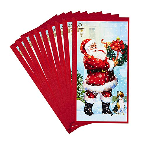 Hallmark Pack of Christmas Money or Gift Card Holders, Santa and Dog (10 Cards with Envelopes)