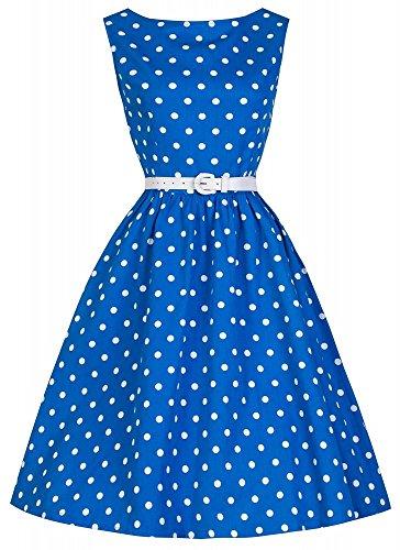 shoperama 50 años Rockabilly-Kleid Zoe azul/blanco Vintage 50's Retro Polka Dots Fifties Petticoat azul/blanco 36