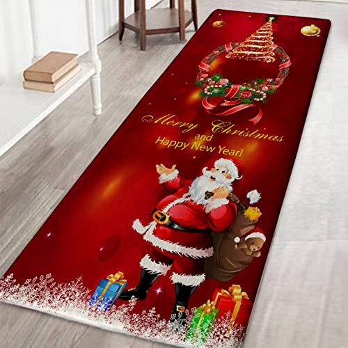 Weihnachtsteppich 3D Rutschfest Weihnachtsdruck Teppich Wohnzimmer Boden Küche Badezimmer Teppich Weihnachtsmann & Reh Weihnachtsbaum Schneemann