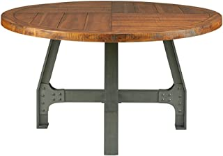 Ink+Ivy Lancaster Round Dining Table - Solid Wood, Metal Base Dining Room Table - Amber Wood, Industrial Style Kitchen Table - 1 Piece Metal Frame Wooden Top Round Table For Dining Room