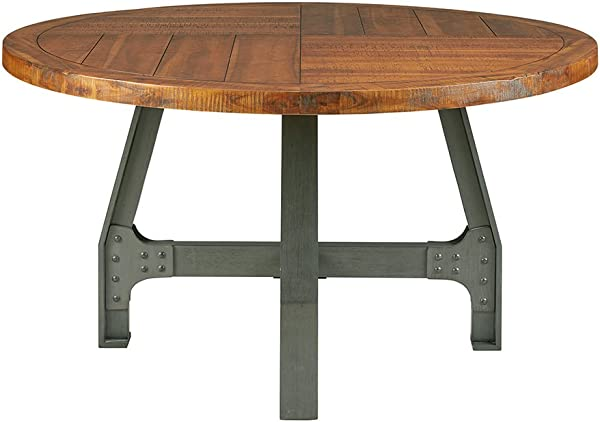 Ink Ivy Lancaster Round Dining Table Solid Wood Metal Base Dining Room Table Amber Wood Industrial Style Kitchen Table 1 Piece Metal Frame Wooden Top Round Table For Dining Room