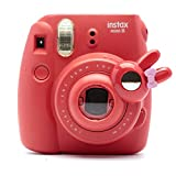 Woodmin Compatible Rabbit-Style Selfie Lens for Fujifilm Instax Mini 9 8 8 + 7s Camera (Red)