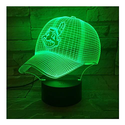 Led-Lampe Nacht Cleveland Indians Baseball Cup Touch Sensor Rbg Farbwechsel Kinder Kinder Geschenk Usb Nachtlicht Decor 3D