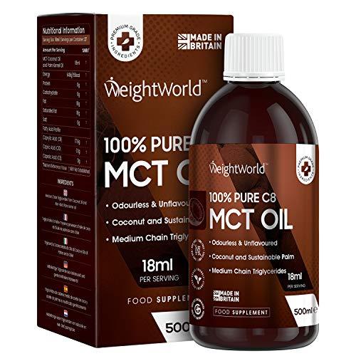 Suplemento Aceite MCT C8 Puro | Suplemento Vegano de MCT C8 para Control del Peso, el Apetito y para Adelgazar | Apoyo Mental | Ideal Dieta Cetogégina | Sin Carbohidratos | 500 ml | WeightWorld