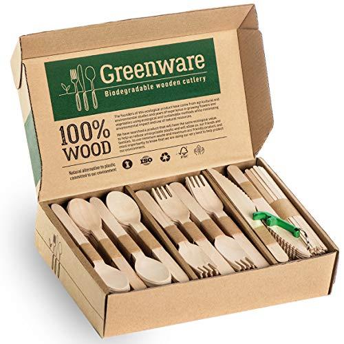 Disposable Wooden Cutlery Set   Biodegradable Compostable Flatware...
