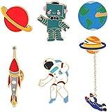 Enamel Pin Cute Enamel Lapel Pin Sets Carton Animal Brooch Pin (Planet Spaceman and Robot Set of 6)