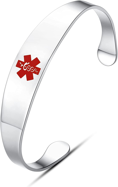 LinnaLove Free Engraving Medical Alert id Cuff Bracelets Bangle for Women and Men