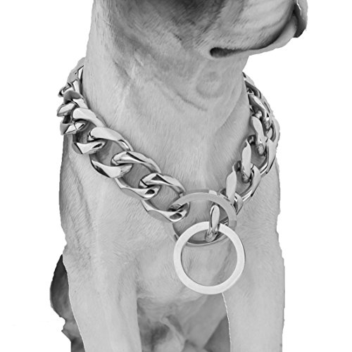 FANS JEWELRY 10/12/15/17/19mm Strong Curb Cuban Link 316L Stainless Steel Dog Choke Chain Collar 12-36inch(24inches,19mm)