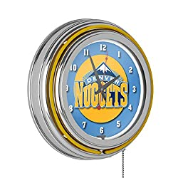 Denver Nuggets NBA Chrome Double Ring Neon Clock