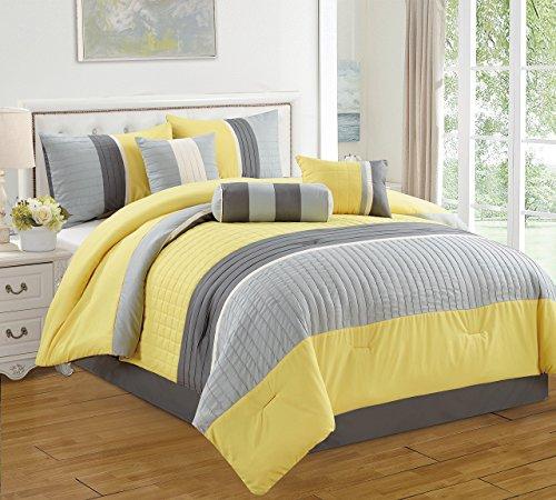 Dovedot Isabella Comforter Set, Queen, Yellow Grey, 7 Piece