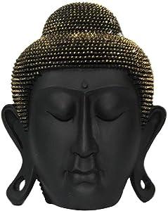SIL Interiors Cabeza de Buda Estatua Ceramica Escultura Marrón Figura Decorativa Decoración Zen 18cm