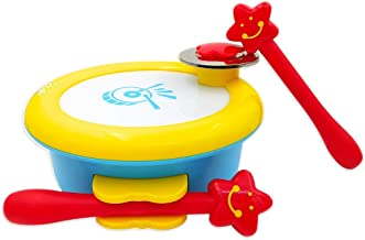 ISEE Baby Musical Toys Drum, Infant Learning Instrument Toy for 1 2 Year Old Girl Boy, Children Handheld Percussion Take Along Tunes with Music Beat. My First Instruments 6 12 Months Babies Toddler