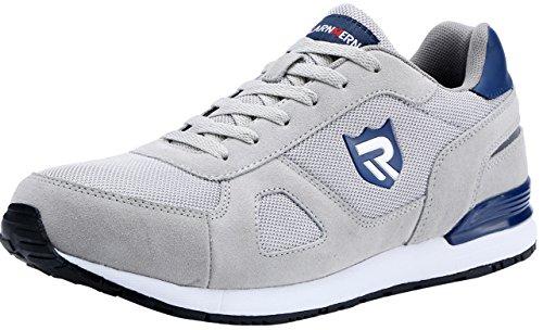 LARNMERN Stahlkappe Sicherheitsschuhe, Herren luftdurchlässige Leichte Anti-Smashing Schuhe Industrie und Handwerk (45 EU, Grau)