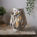 Lights4fun Lanterna in Legno Intrecciato di 25cm con Candela TruGlow® LED Bianco Caldo a Pile per Esterni