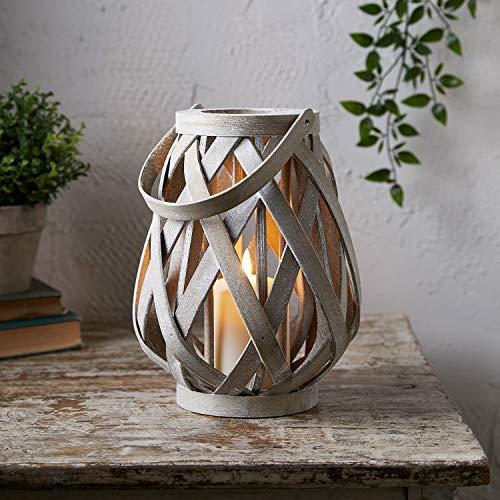 Lights4fun Holz Laterne inkl. TruGlow® Kerze mit Timer für Innen & Außen 22cm