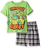 Nickelodeon Boys' Toddler Teenage Mutant Ninja Turtle Tee and Plaid Short Set, Green, 3T