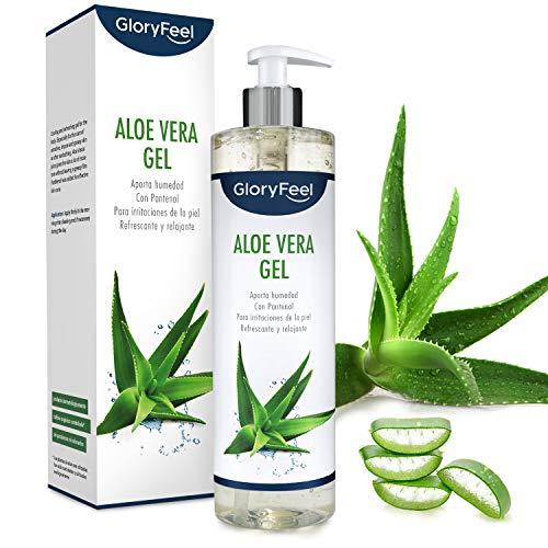 GloryFeel® Aloe Vera Gel 500ml - Cultivo controlado 100% ecológico - Hidratante natural - Loción calmante y refrescante para despues del sol - Probado dermatologicamente - Para todo tipo de piel