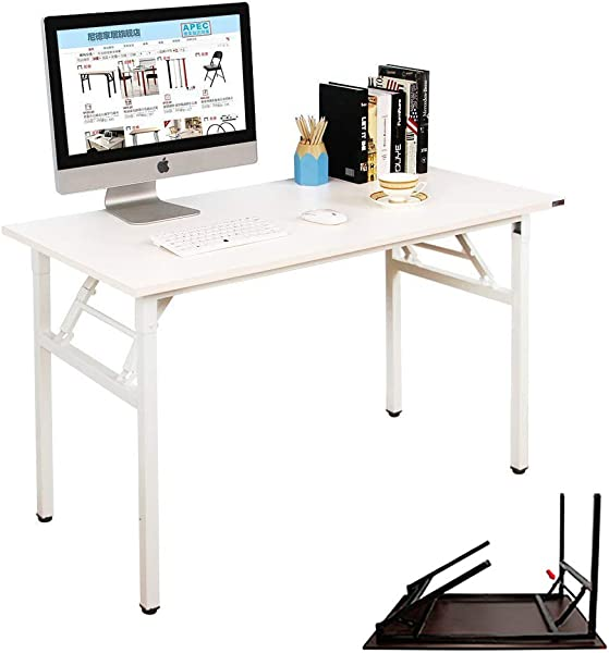 NeedHome Computer Desk 47inches Office Desk Folding Table Computer Table Workstation No Install Needed White AC5DW 120 SH