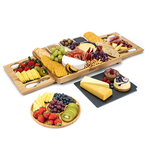 Smirly Cheese Board and Knife Set - Charcuterie Board/Organic Bamboo Cheese...