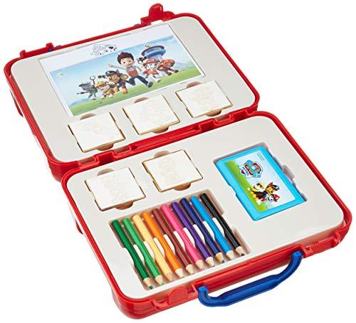 Multiprint Valise Travel Set Paw Patrol Boy, Made in Italy, Livre de Coloriage, avec Puzzles et Crayons, Tampons Enfants, en Bois et Caoutchouc Naturel, Encre Lavable Non Toxique, Idée Cadeau, 42903