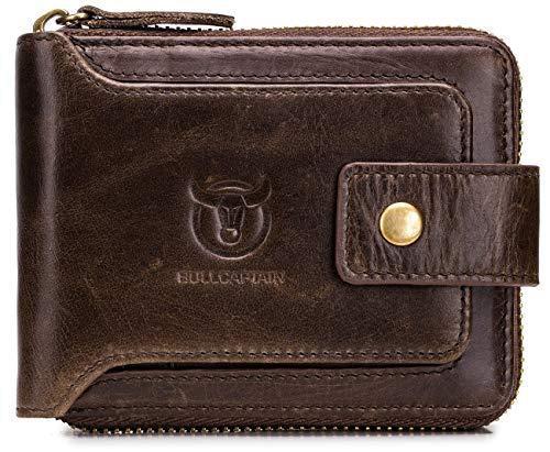 BULLCAPTAIN Herren Geldbörse aus Leder mit RFID-blockierendem Reißverschluss -  Braun -  Small