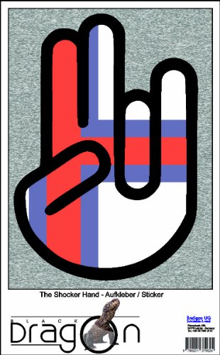 INDIGOS UG The Shocker Hand - Wandtattoo/Wandaufkleber/Aufkleber - schwarzer Umriss mit Fahne/Flagge - Faroe Islands-Färöer-Inseln 100 cm