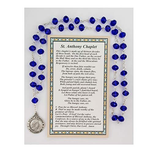 Hail Mary Gifts ST. Anthony Chaplet, CARDED, Blue Crystal Beads with ST. Anthony Medal. Comes with How to Pray The Chaplet Card, Bagged.