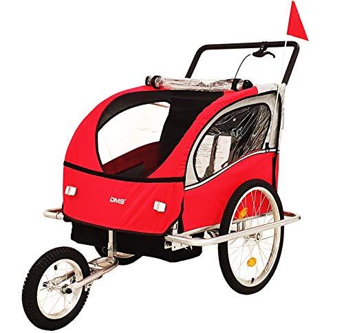 DMS® Fahrradanhänger 2 in 1 Kinderanhänger Fahrrad Anhänger Jogger Radanhänger Kinderwagen Kinderfahrradanhänger für 2 Kinder 5-Punkt Sicherheitsgurt, Radschutz FH-02 (Rot)
