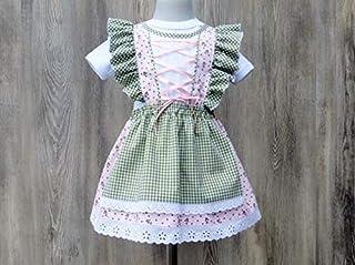 Näherei Allerlei Rüschendirndlchen fürs Baby, Trachtenkleid fürs Kind, Taufdirndl in rose und grün