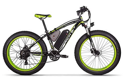 ENLEE Rich BIT RT-012 Leistungsstarkes 1000W 48V 17Ah elektrisches Fatbike Mit Heckmotor und Vorderradaufhängung (Black-Green)